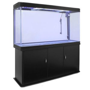 MonsterShop Aquarium à Bords Noir de 300 litres, Meuble